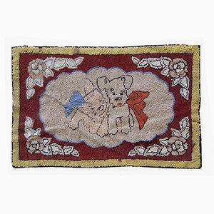 Alfombra estadounidense vintage tejida a mano, años 30
