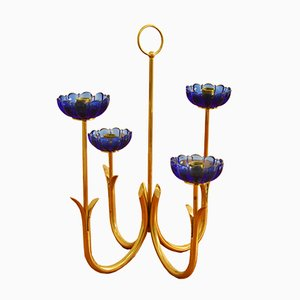Mid-Century Candelabra in Brass with Glass by Gunnar Ander for Ystad Metall