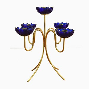 Mid-Century Candelabra in Brass with Blue Glass by Gunnar Ander for Ystad Metall