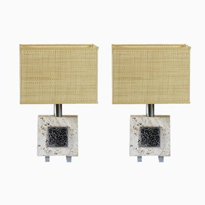 Italian Travertine & Chrome Table Lamps, 1970s, Set of 2