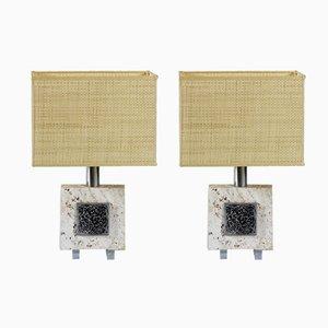 Lámparas de mesa italianas de travertino y metal cromado, años 70. Juego de 2