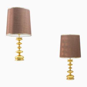 Lámparas de mesa Hollywood Regency italianas chapadas en oro, años 60. Juego de 2