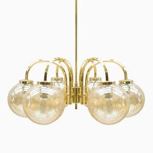 Lámpara de techo vintage dorada con 6 esferas, años 60