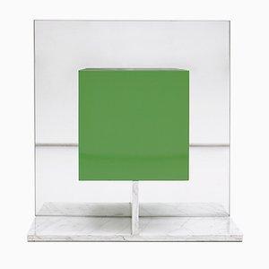 Mobile verde a specchio con base in marmo di Pieter De Bruyne, 1974