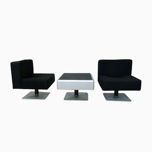 System 350 Lounge Chairs & Side Table by Herbert Hirche for Mauser, 1974, Set of 3