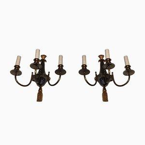 Apliques de bronce y metal cepillado con tres brazos, años 60. Juego de 2