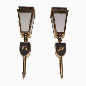 Linternas de vidrio y latón lacado en negro, años 50. Juego de 2