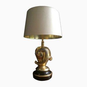Lámpara con base de latón dorado en forma de caballo de Maison Charles, años 70