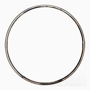 Specchio rotondo con cornice in metallo cromato, anni '70