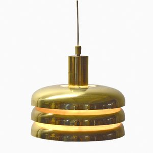 Brass Cylindrical Pendant Light by Hans-Agne Jakobsson, 1960s