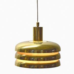 Lámpara colgante cilíndrica de latón de Hans-Agne Jakobsson, años 60