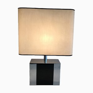 Lámpara de madera ebonizada y cromo, años 70