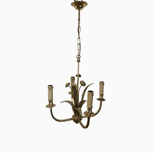 Small Brass Floral Chandelier, 1970s