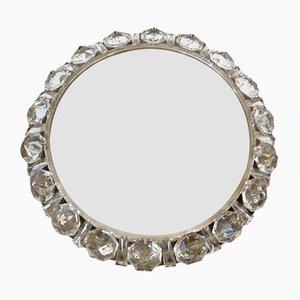 Beleuchteter Runder Spiegel mit Rahmen aus Kristallglas von Palwa, 1950er