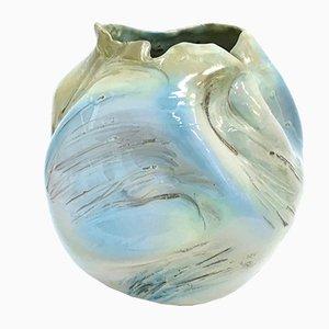Vase Vintage Iridescent Sculptural en Faïence Verni