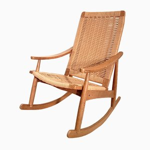 Rocking Chair in Oak and Wicker, 1960s