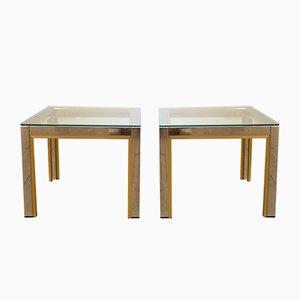 Mesas de centro de latón y cromado de Renato Zevi para Romeo Rega, años 70. Juego de 2