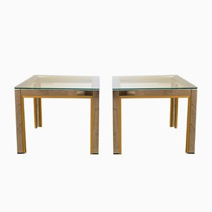Tables Basses en Laiton et Chrome par Renato Zevi pour Romeo Rega, 1970s, Set de 2