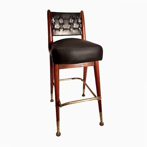 Mahogany Croupier Chair with Leather and Moleskin, 1950s