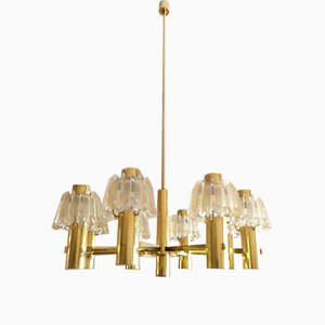 Large Brass and Frosted Glass Chandelier from Doria, 1960s
