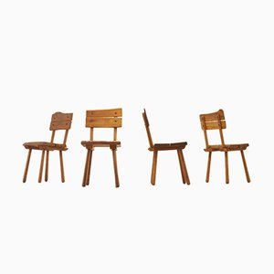 Mid-Century French Brutalist Oak Dining Chairs, Set of 4