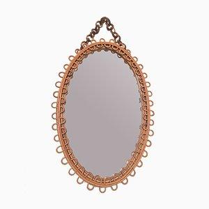 Ovaler Italienischer Spiegel mit Rattanrahmen