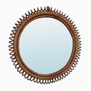 Italienischer Spiegel mit Rahmen aus Rattan & Bambus