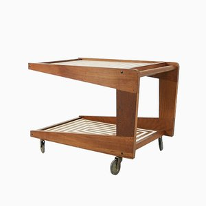Mid-Century Teak Bar Cart with Labyrinth Pattern, 1960s
