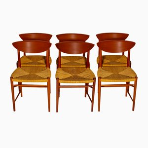 Chaises par Peter Hvidt & Orly Moolgard Nielsen pour Søborg Møbelfabrik, 1960s, Set de 6