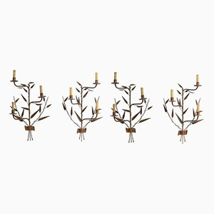 Vintage Forged and Gilded Iron Sconces, Set of 4