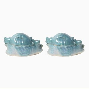Vintage Ceramic Shell Boxes, Set of 2