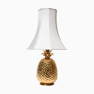 Gilded Ceramic Pineapple Table Lamp, 1970s