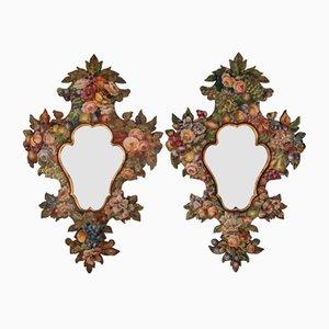 Espejos pintados a mano, siglo XIX. Juego de 2