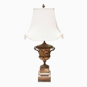 Lampada da tavolo Medici antica neoclassica con urna in bronzo