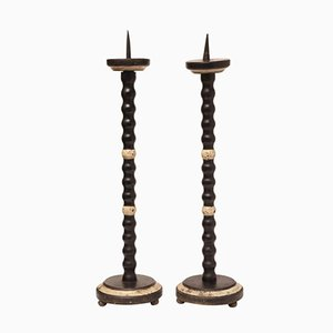 Antique Italian Lacquered Candlesticks, Set of 2