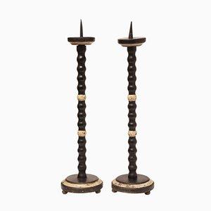 Lackierte Antike Italienische Kerzenhalter, 2er Set