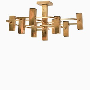 Brass Ceiling Light by Gaetano Sciolari, 1970s