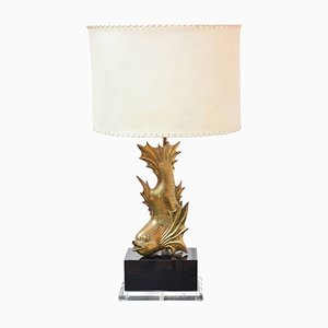 Gilt Brass Fish Table Lamp, 1970s