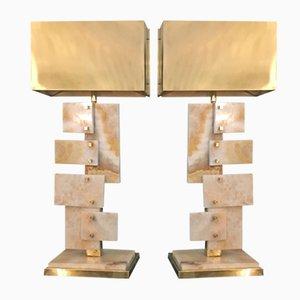 Vintage Alabaster Lampen, 2er Set