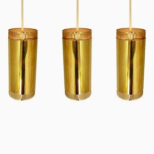 Lámparas colgantes escandinavas de latón, años 60. Juego de 3
