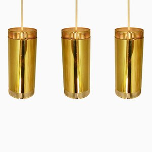 Scandinavian Brass Pendant Lights, 1960s, Set of 3