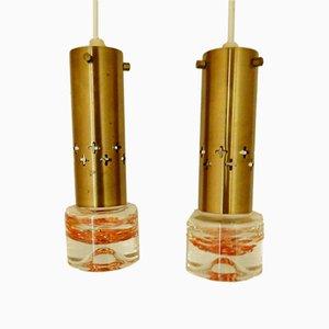 Lámpara colgante sueca de latón, años 60. Juego de 2