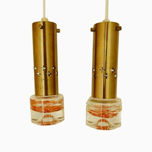 Swedish Brass Pendant Lights, 1960s, Set of 2