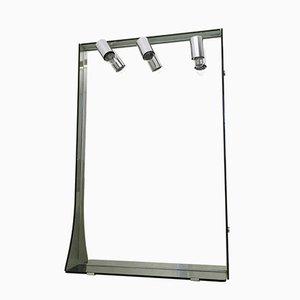 Espejo de pared de vidrio ahumado y metal cromado de Veca, años 70