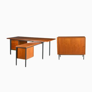Mid-Century Danish Desk & Filing Cabinet Set from Nipu, 1960s, Set of 2
