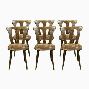 Vintage Beech Chairs, 1970s, Set of 6