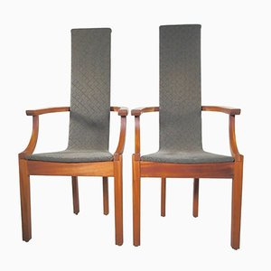 Mahogany High-Back Chairs by Leo Johansson, 1980s, Set of 2