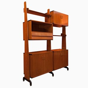 Italian Adjustable Wooden Shelving Unit, 1960s