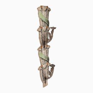 Bemalter Wandmontierter Kerzenhalter aus Papier aus 18. Jhdt.