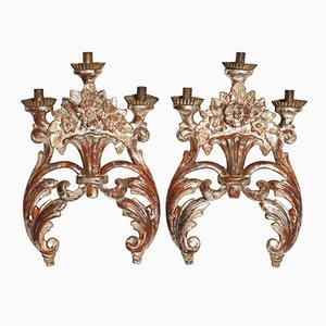 18th Century Mecca Silver Gilt Candle Holders, Set of 2
